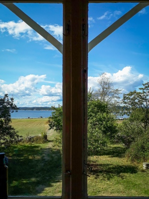 Jomfruland Hovedgård, a 110 year old farmhouse available to rent. View from the kitchen in the morning.   Image: T. Thorne.